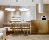 Kiev Apartment with Brass Clad Kitchen Island