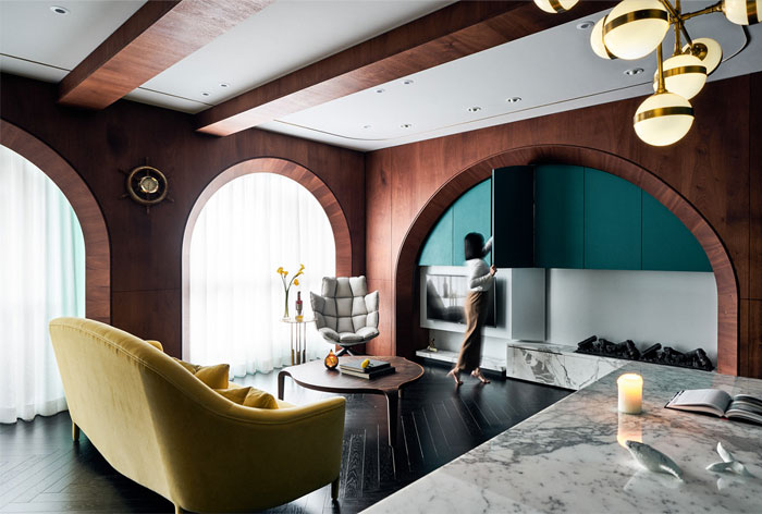 simple tv wall designs with arches 1