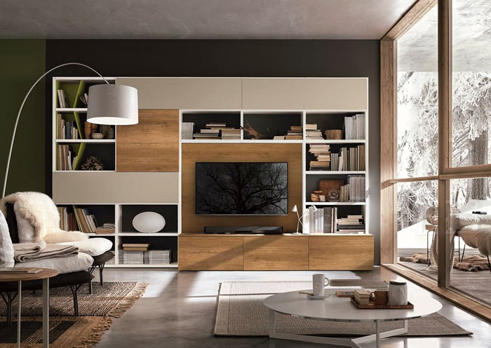 tv wall design wood